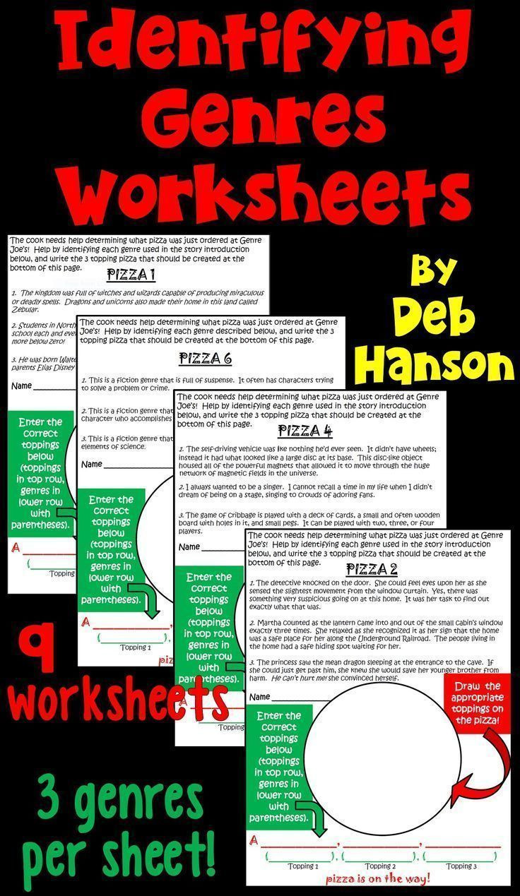 Genre Worksheets 4th Grade Genres Identification Activity Game Featuring Pizza