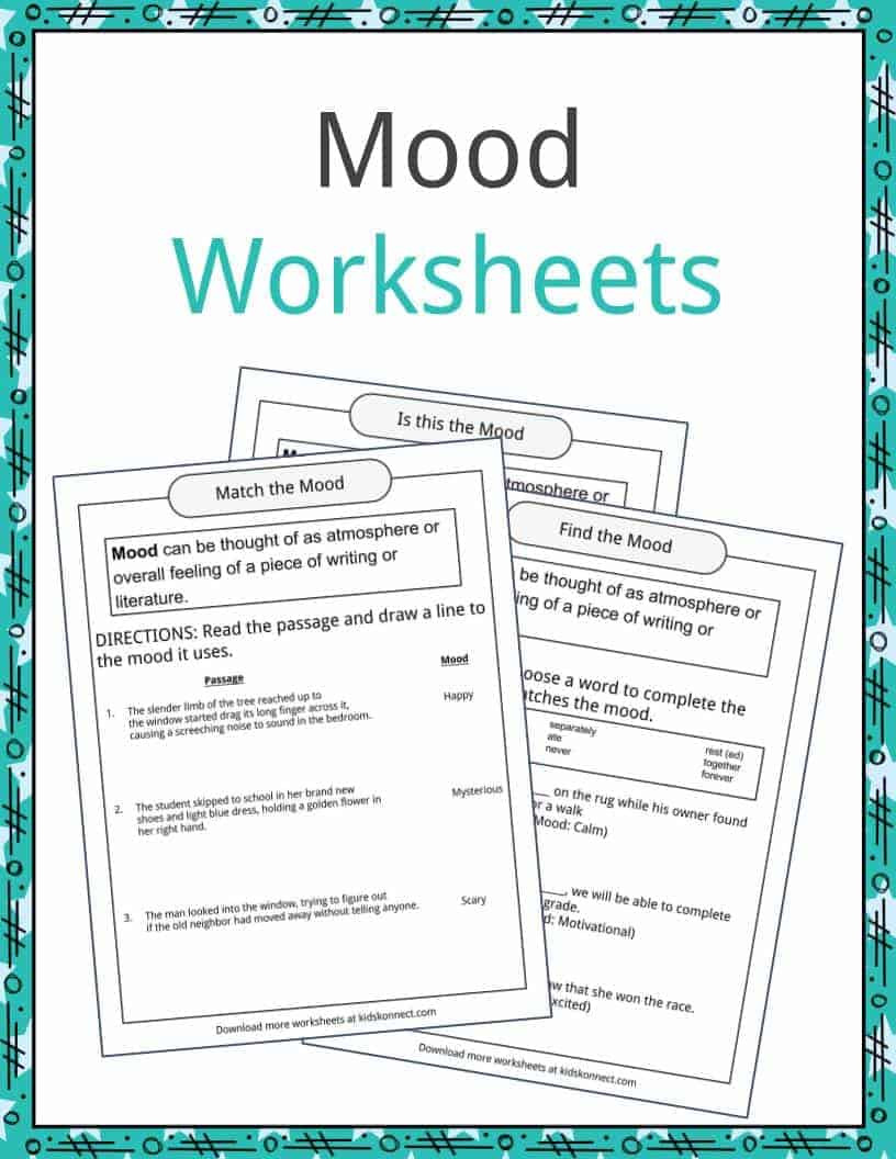 Genre Worksheets 4th Grade Mood Examples Definition and Worksheets