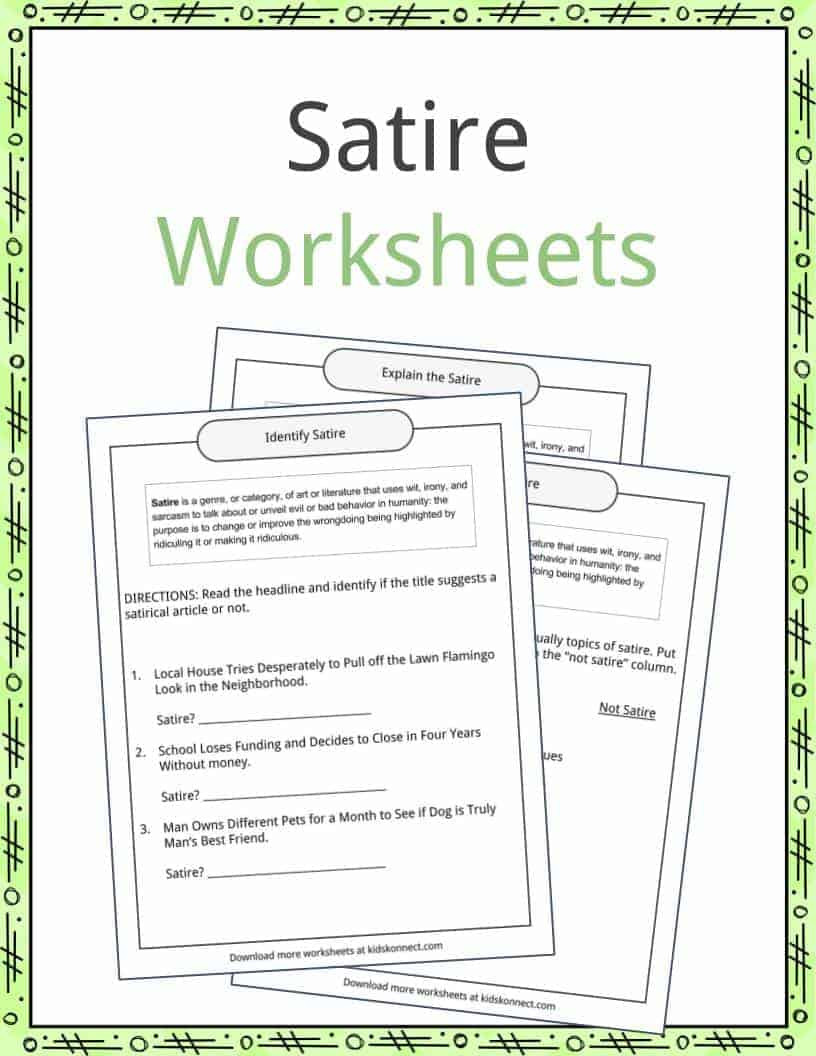 Genre Worksheets 4th Grade Satire Examples Definition and Worksheets