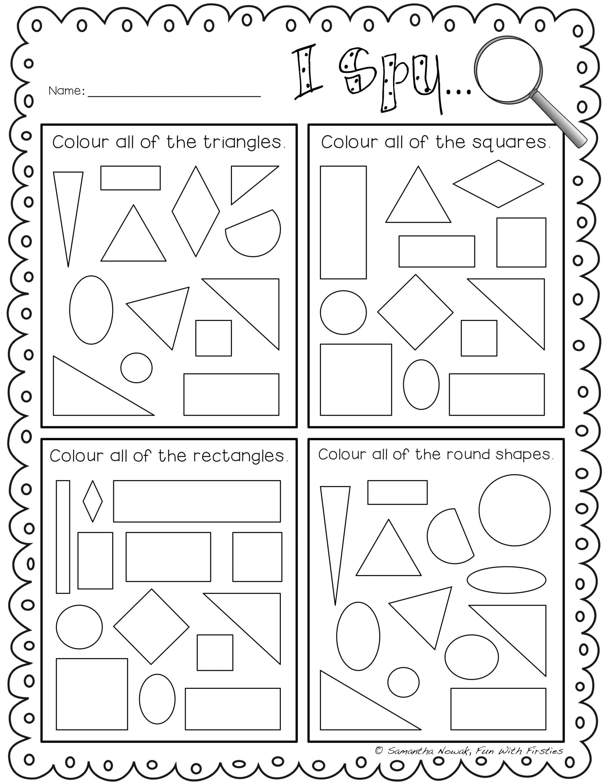 Geometric Shapes Worksheet 2nd Grade I Spy 2d Geometry Shapes Lour to Practice Identifying