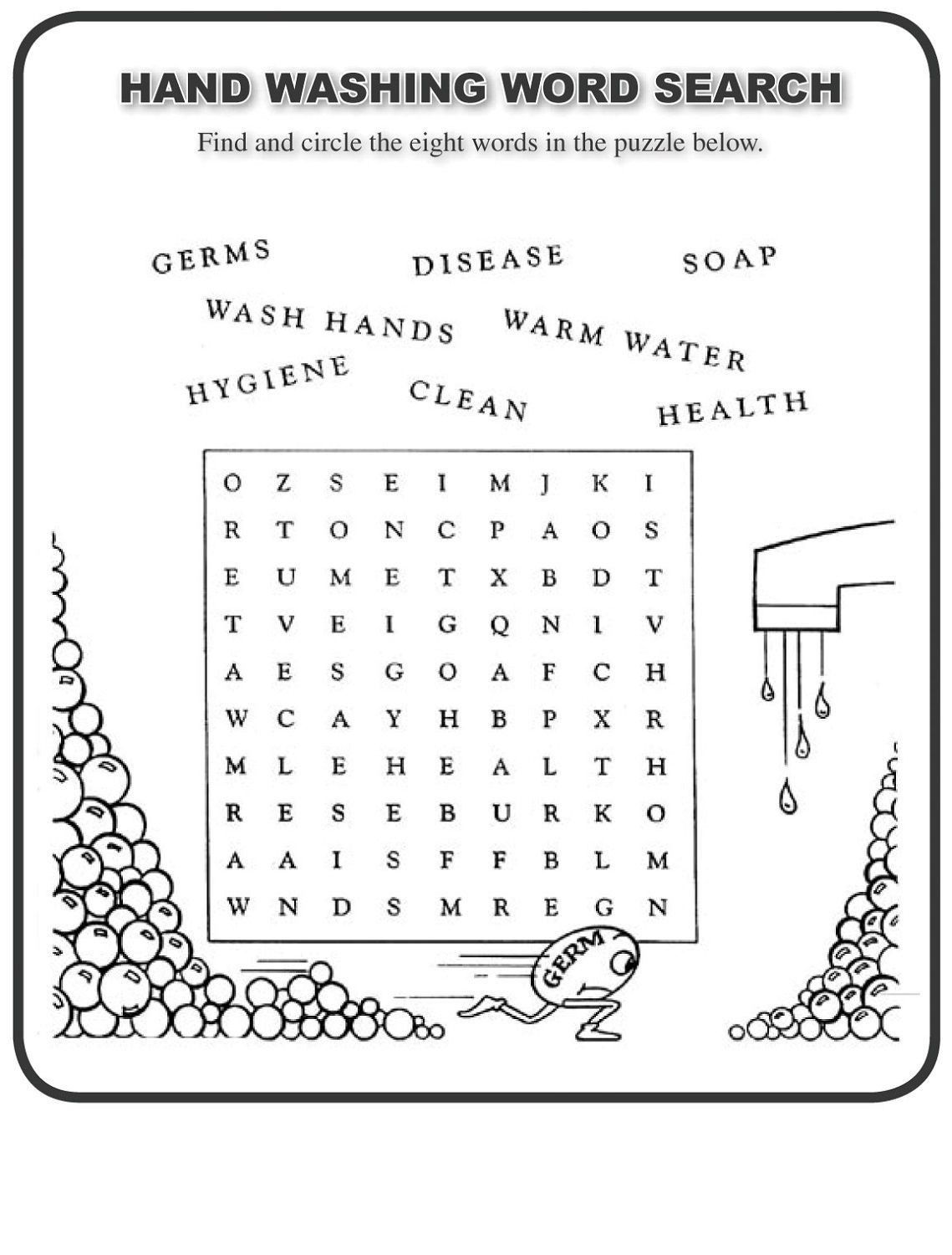 Germ Worksheets for First Grade Word Search for Kids