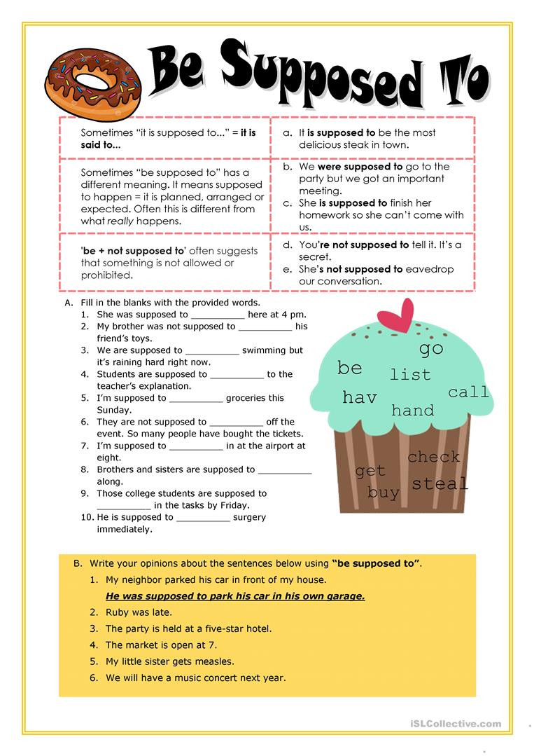 Grammar Worksheets High School English Esl Be Supposed to Worksheets Most Ed 3