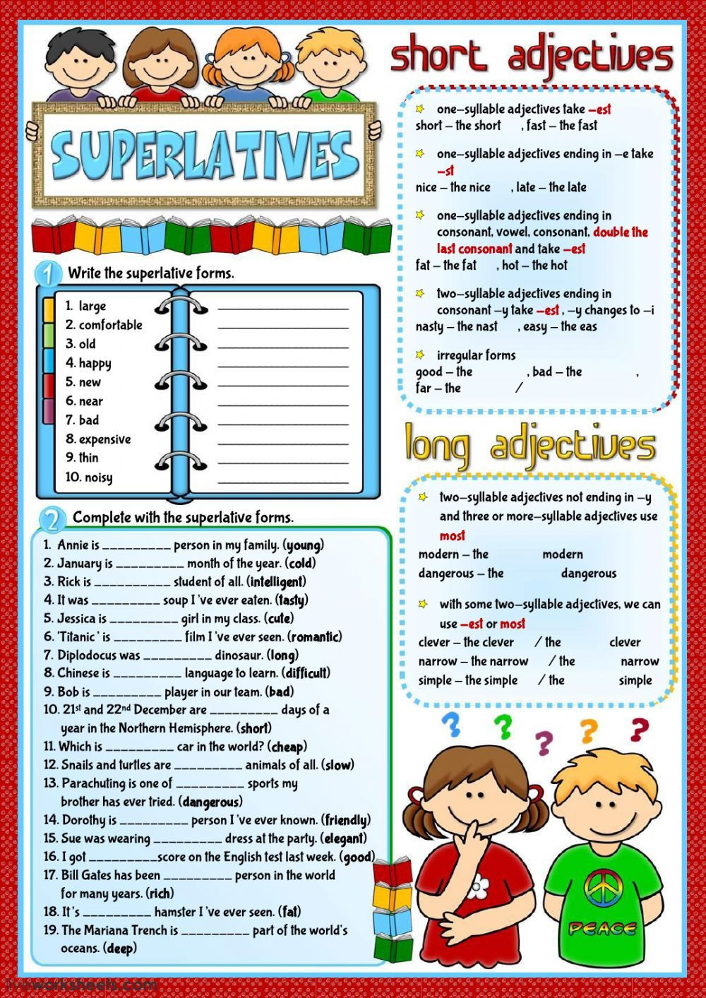 Grammar Worksheets Middle School Pdf Superlatives Interactive and Able Worksheet You Can