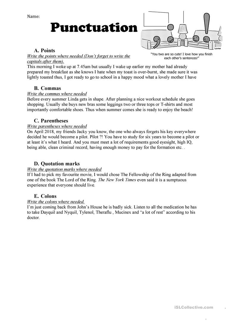 High School Punctuation Worksheets Punctuation English Esl Worksheets for Distance Learning and