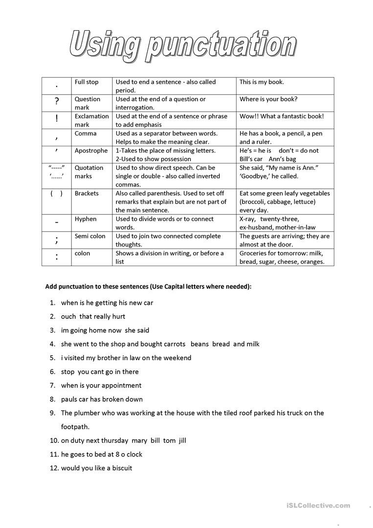 High School Punctuation Worksheets Punctuation English Esl Worksheets for Distance Learning