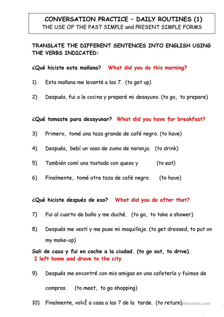 High School Spanish Worksheets Dialy Routines Translate From Spanish to English English