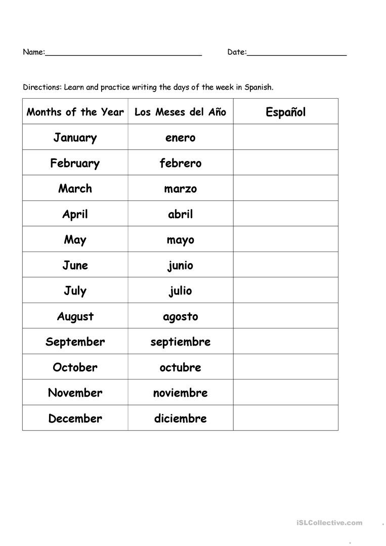 High School Spanish Worksheets Months the Year In Spanish English Esl Worksheets for and