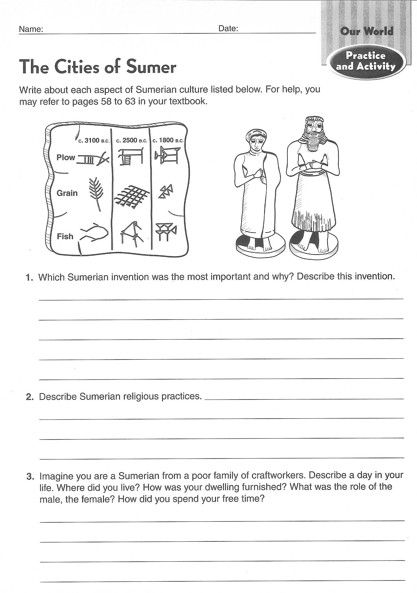 History Worksheets for 2nd Grade Ancient Civilizations Worksheets 6th Grade Google Search