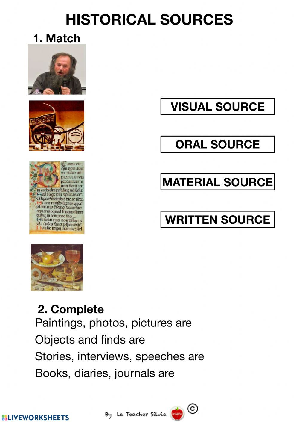 History Worksheets for 2nd Grade Historical sources Interactive Worksheet