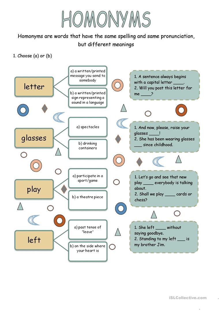 Homonym Worksheets High School Homonyms English Esl Worksheets for Distance Learning and