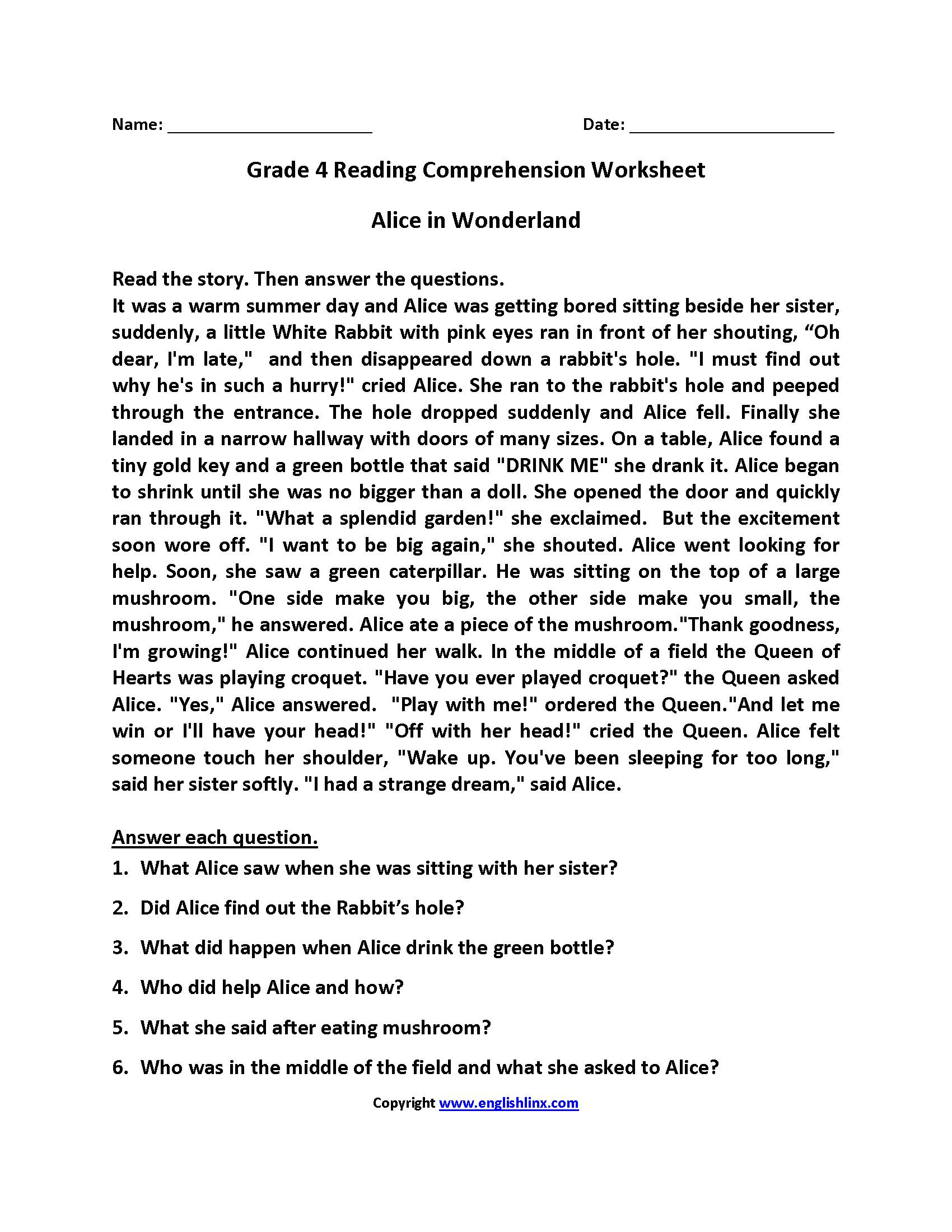 Inference Worksheets 4th Grade Pdf 4th Grade Reading Prehension Worksheets Pdf In 2020