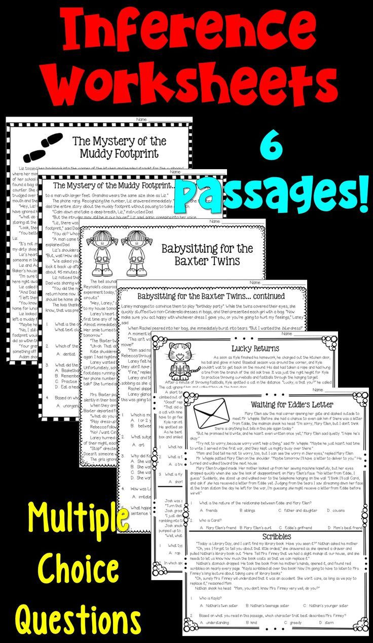 Inference Worksheets Grade 4 Making Inferences Worksheets Students Read Six Passages and
