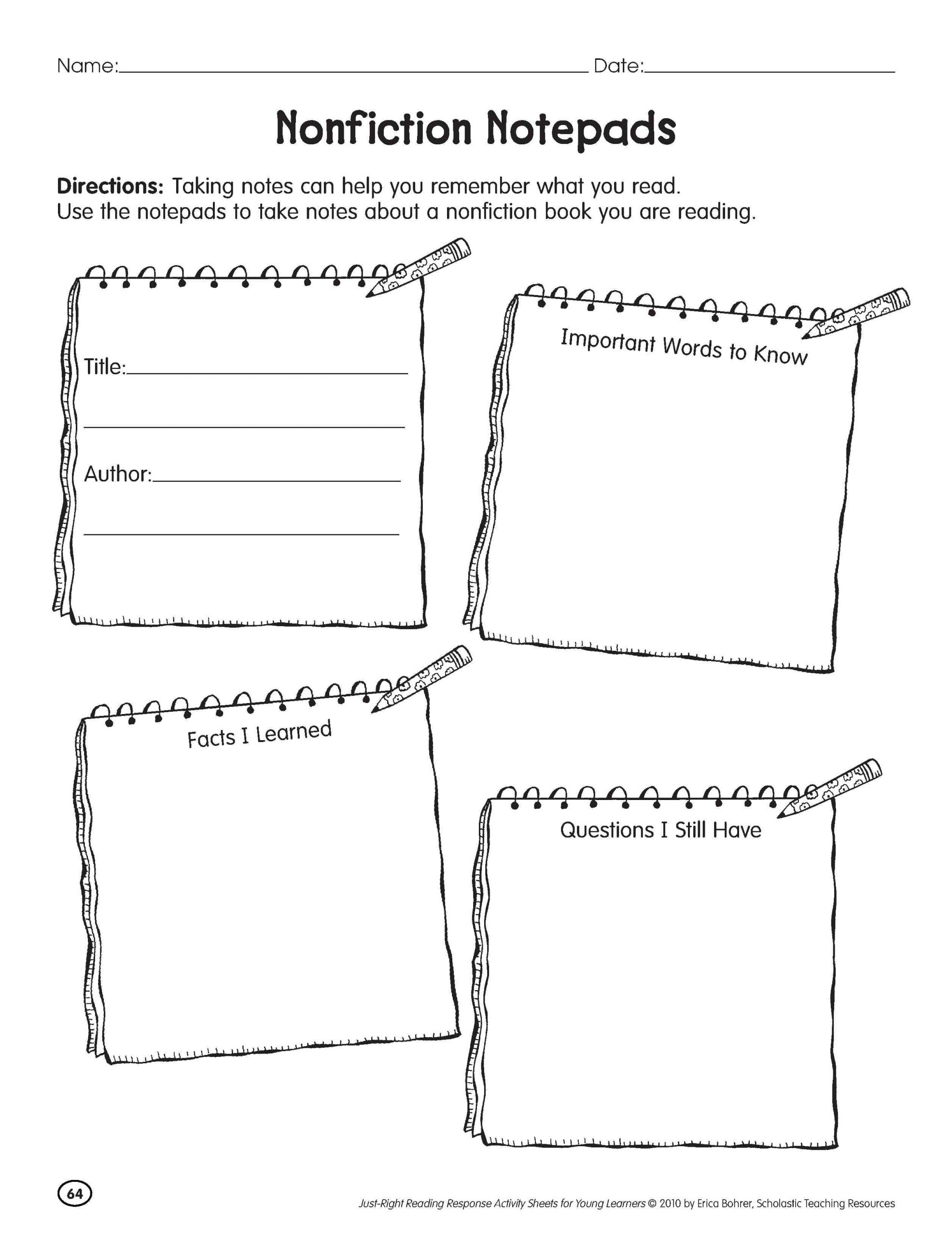 Informational Text Worksheets Middle School Nonfiction Reading Worksheets