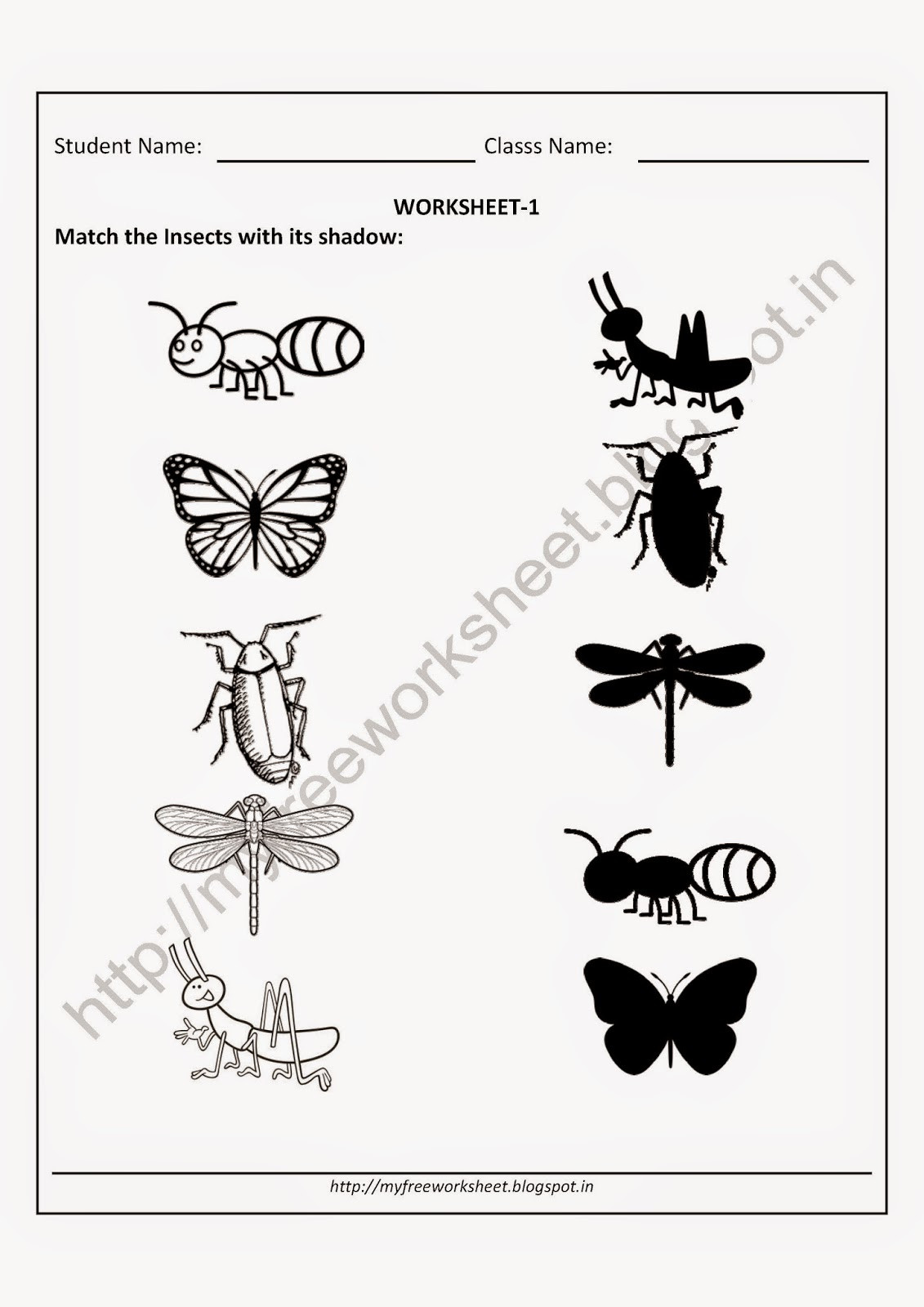 Insect Worksheets for Preschoolers My Free Worksheet Pdf Free Worksheet for Nursery