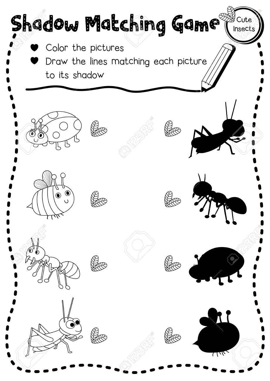 Insect Worksheets for Preschoolers Shadow Matching Game Insect Bug Animals for Preschool