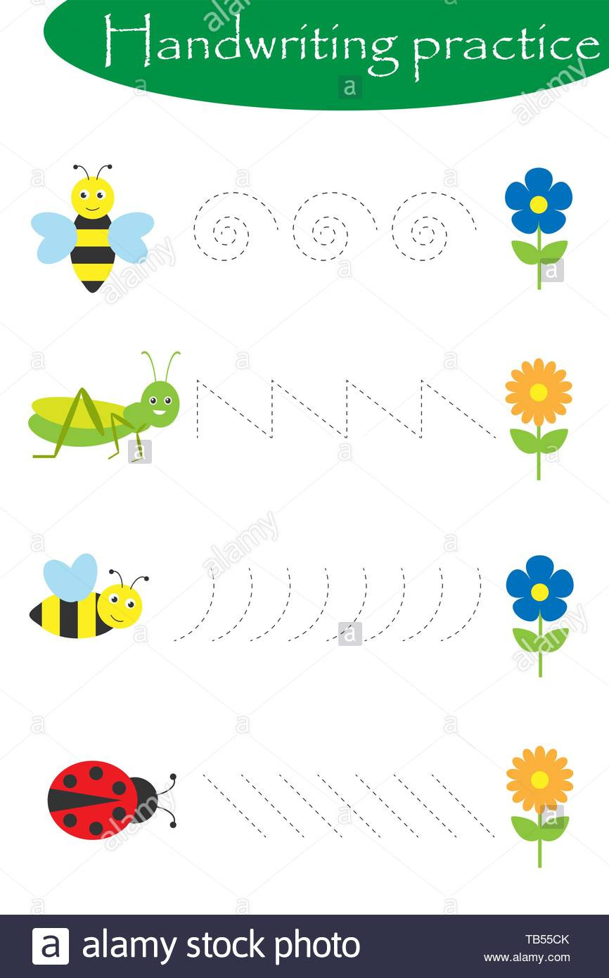 Insect Worksheets for Preschoolers Worksheet Insects In Artoon Style Handwriting Practice