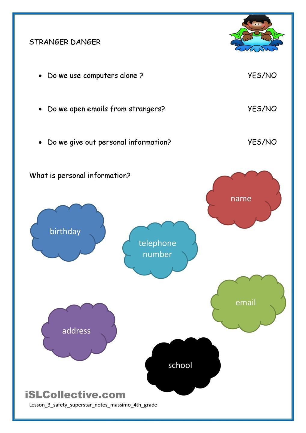 Internet Safety Worksheets Printable Internet Safety with Images