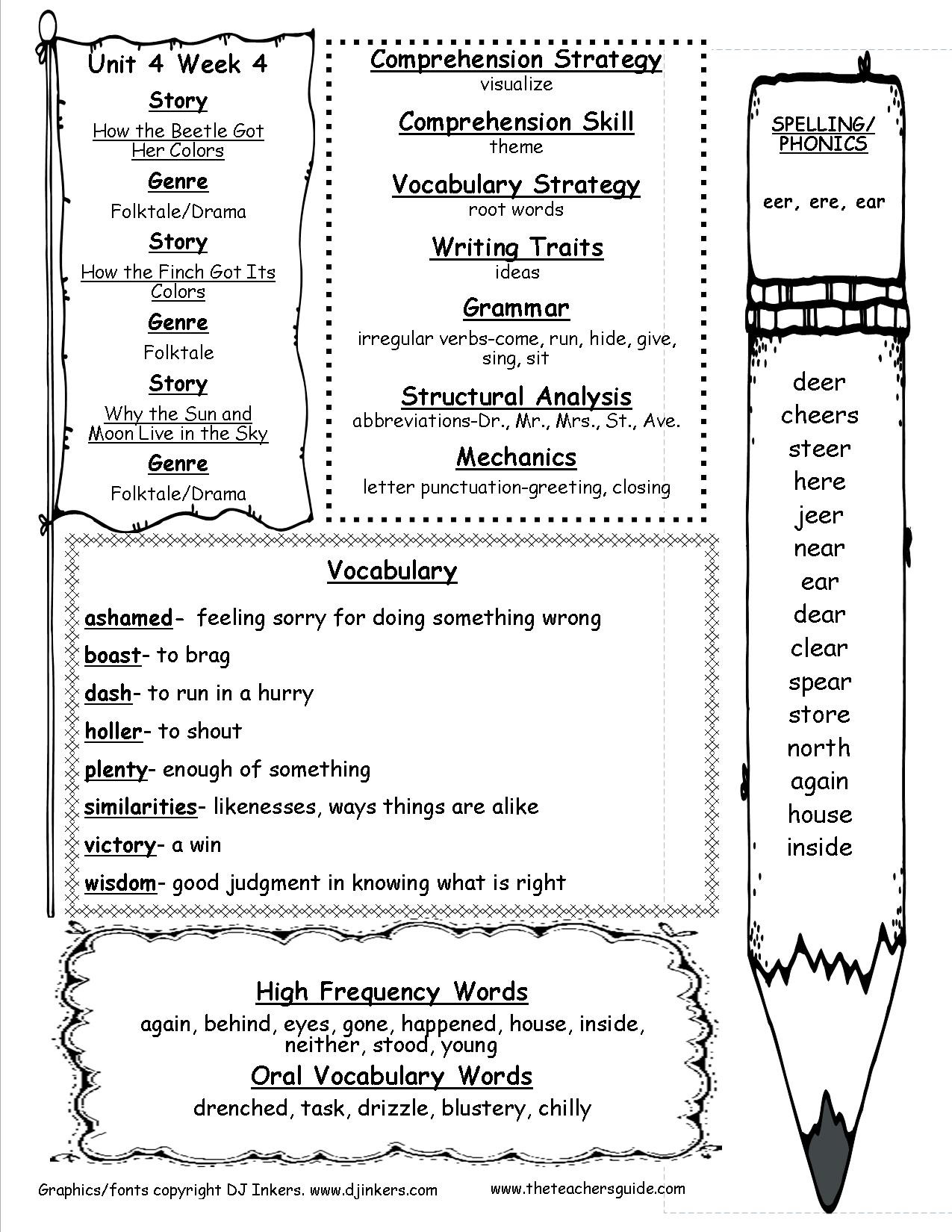 Irregularly Spelled Words 2nd Grade Wonders Second Grade Unit Four Week Four Printouts