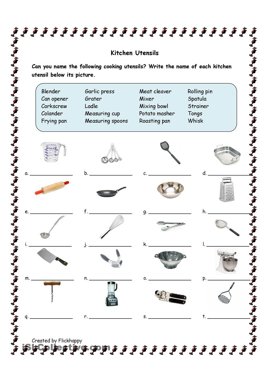 Kitchen Math Worksheets Kitchen Utensils with Life Skills Classroom Cooking
