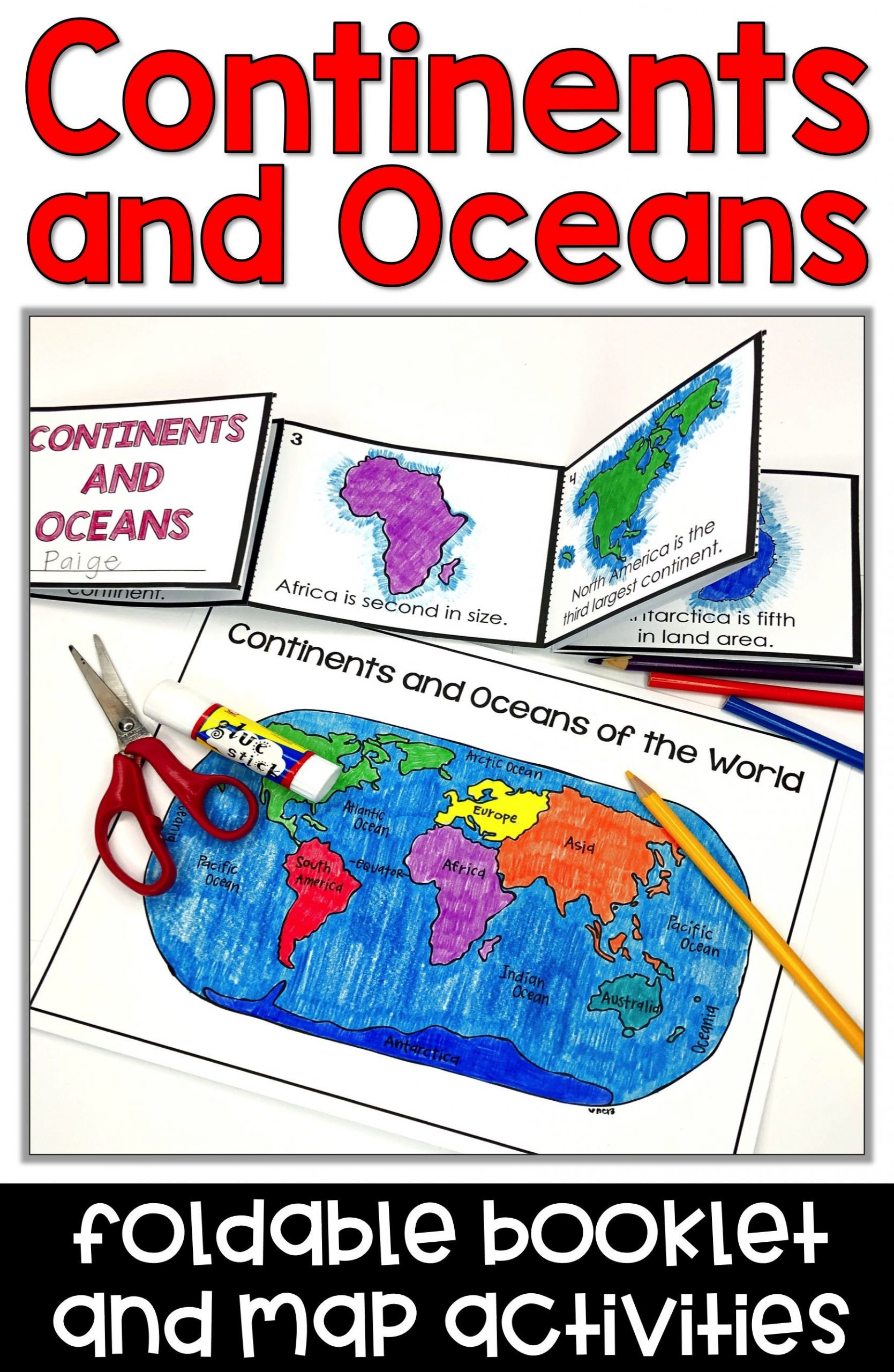 Label Continents and Oceans Printable Continents and Oceans Foldable Booklet Activities