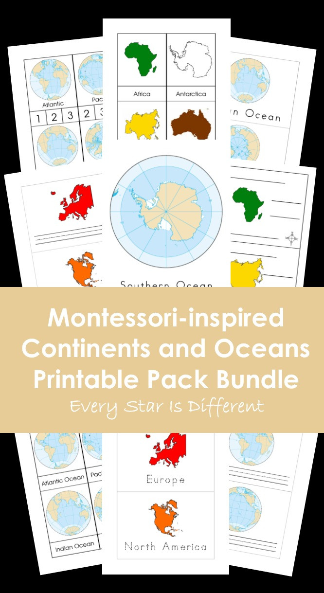 Label Continents and Oceans Printable Every Star is Different Montessori Inspired Continents and