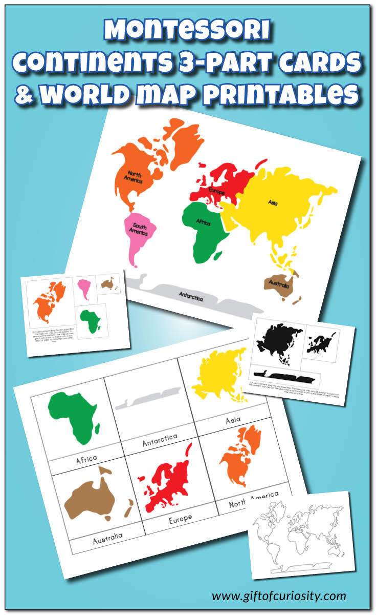 Label Continents and Oceans Printable Montessori Continents 3 Part Cards and World Map Printables