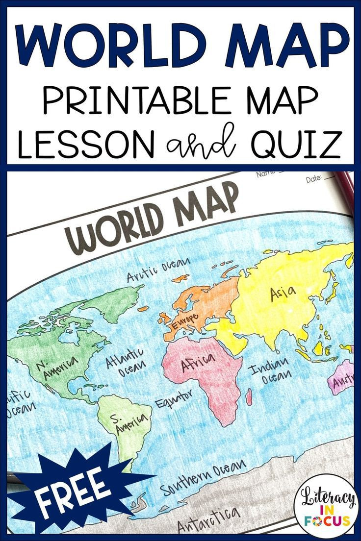 Label Continents and Oceans Printable Printable World Map Worksheet and Quiz