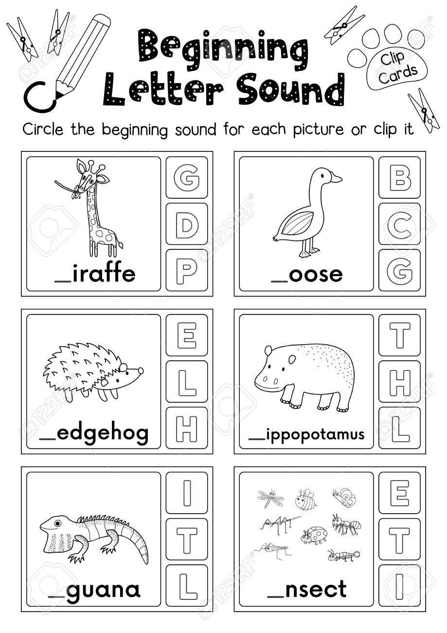 Letter G Worksheet Preschool Clip Cards Matching Game Of Beginning Letter sound G H I for