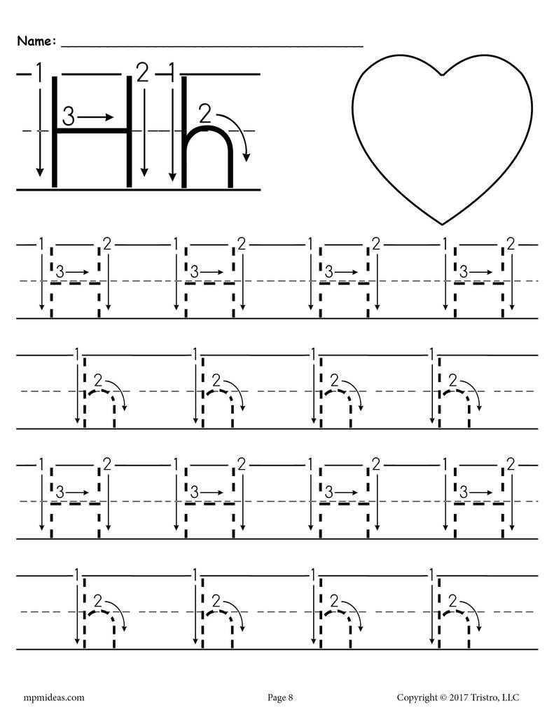 Letter H Worksheets for Preschoolers Printable Letter H Tracing Worksheet with Number and Arrow Guides