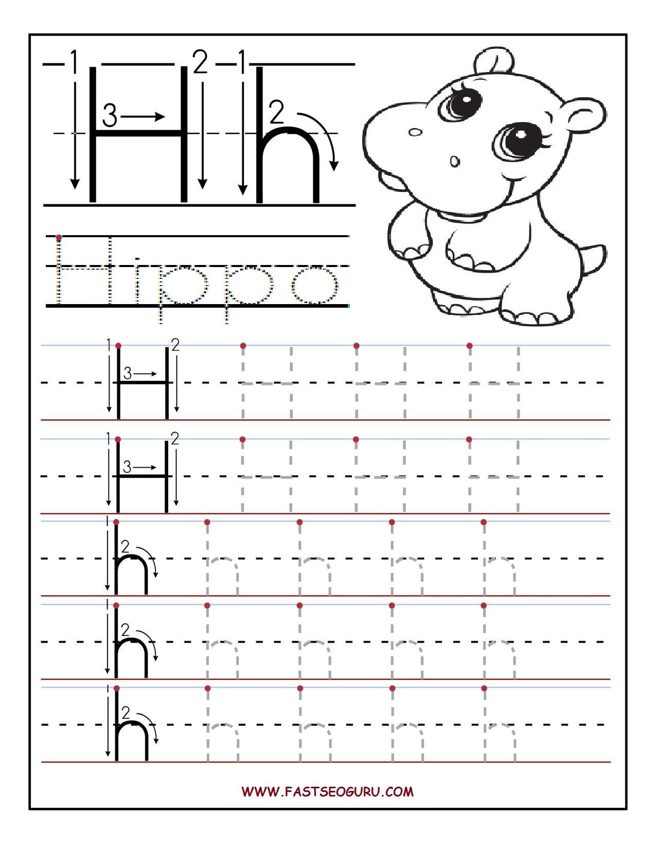 Letter H Worksheets for Preschoolers Printable Letter H Tracing Worksheets for Preschool