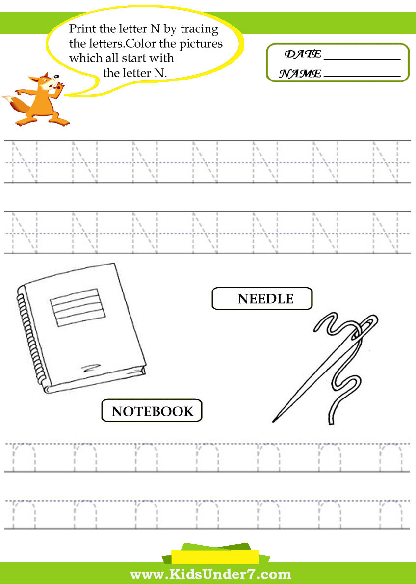 Letter N Preschool Worksheets Kids Under 7 Alphabet Worksheets Trace and Print Letter N