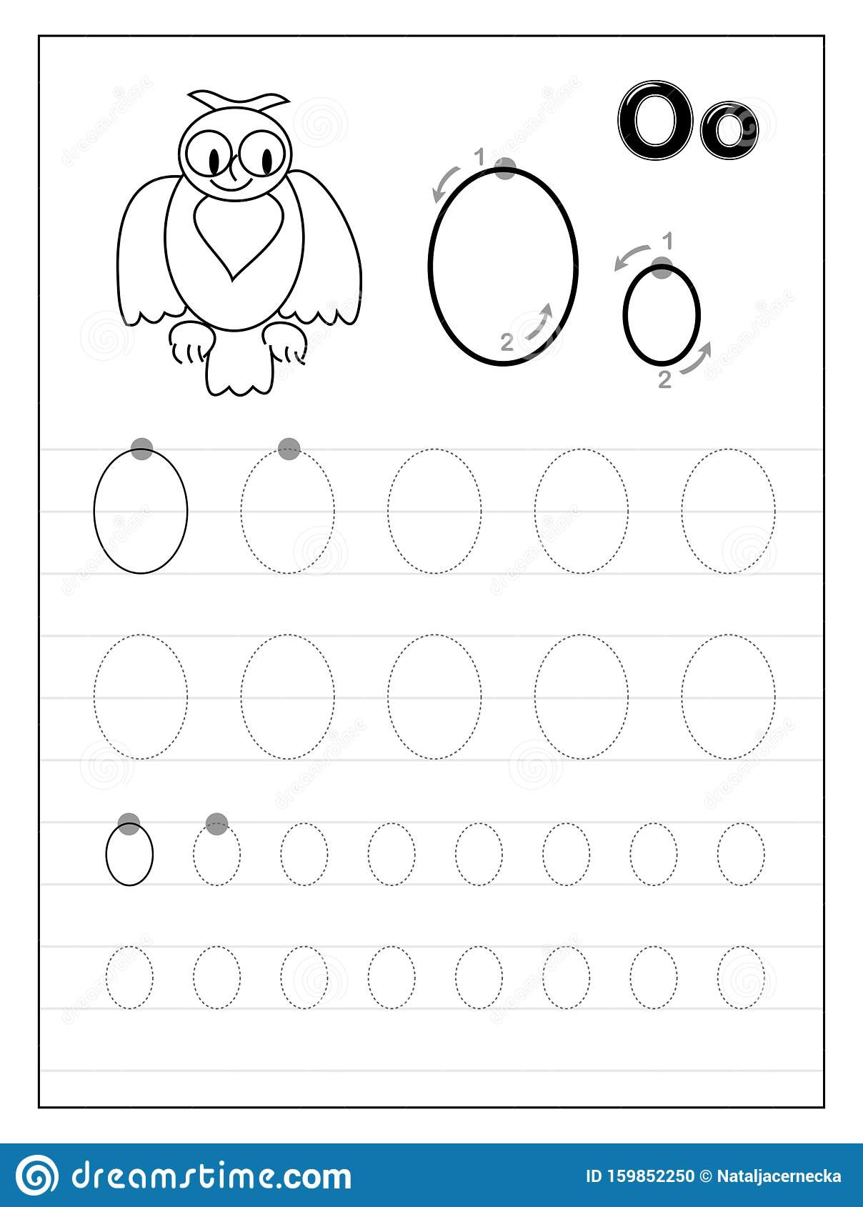 Letter O Worksheets for Preschool Tracing Alphabet Letter O Black and White Educational Pages
