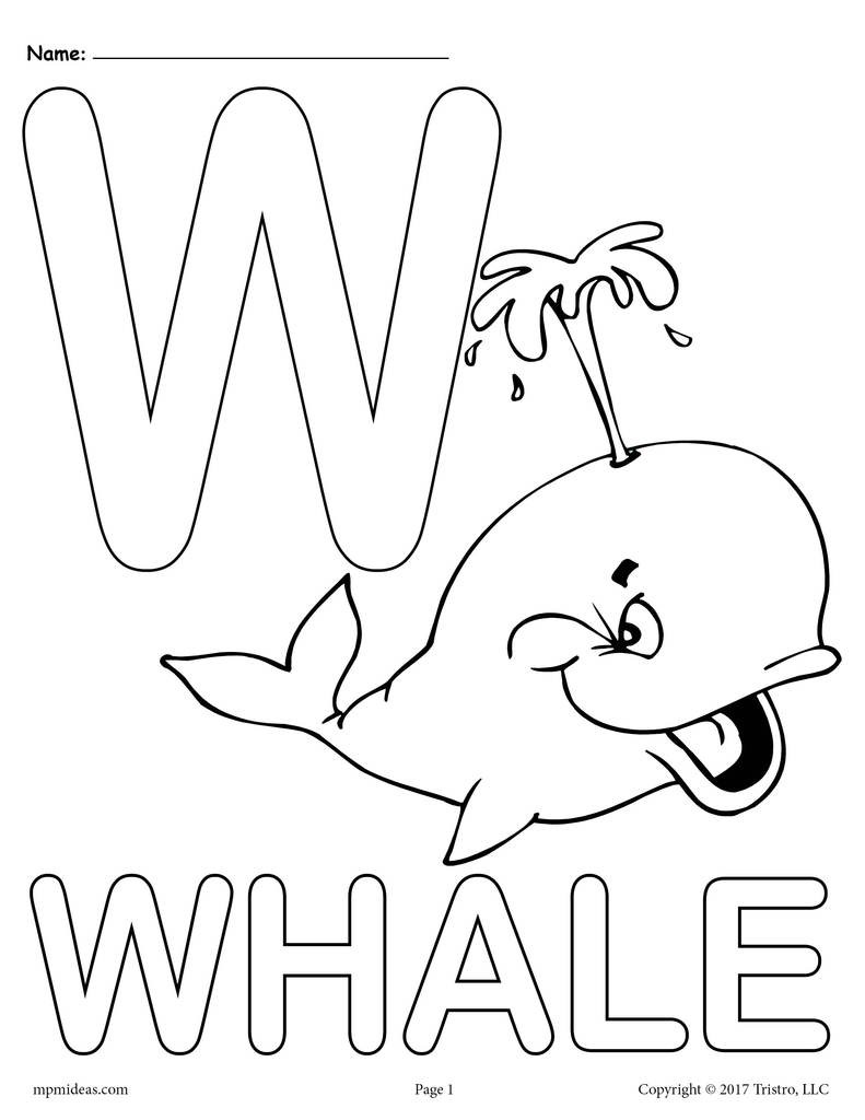 Letter W Worksheets for Preschoolers Letter W Alphabet Coloring Pages 3 Printable Versions