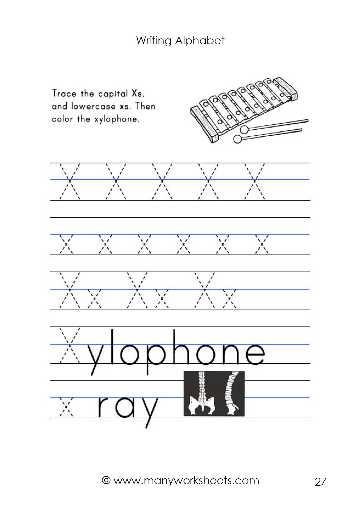 Letter X Worksheets for Preschoolers Letter X Worksheet – Tracing and Handwriting