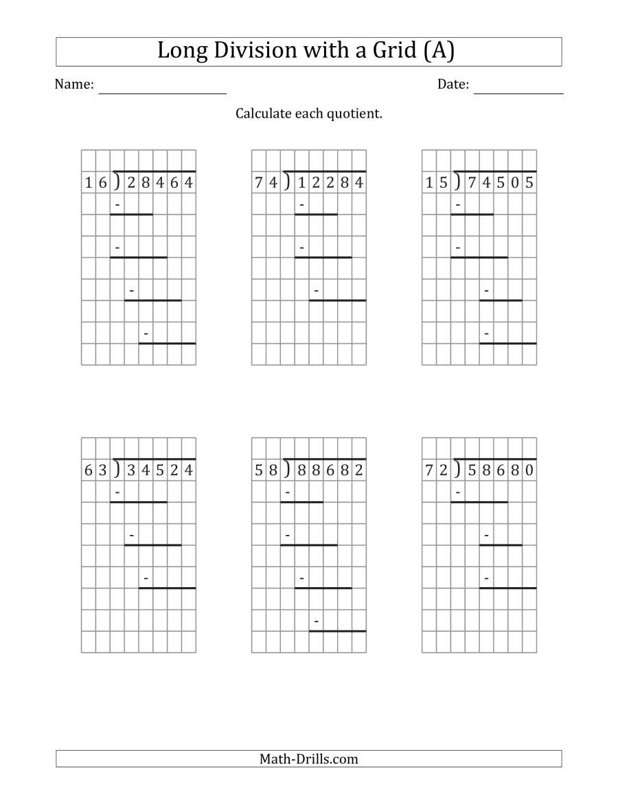 Line Graph Worksheets 5th Grade 5 Digit by 2 Digit Long Division with Grid assistance and