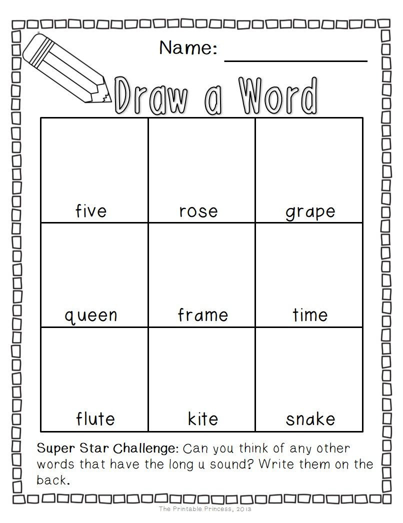 Long Vowels Worksheets First Grade Draw A Word Long Vowel Word Family Edition