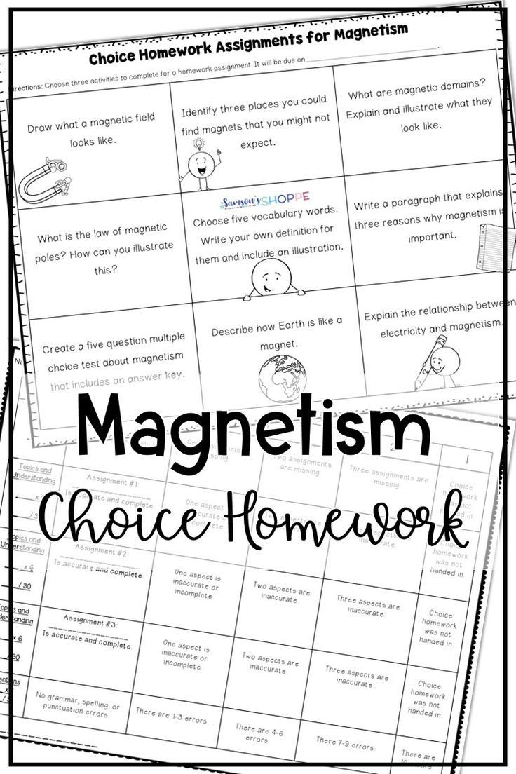 Magnetism Worksheet for High School Magnetism Choice Board assignment Free