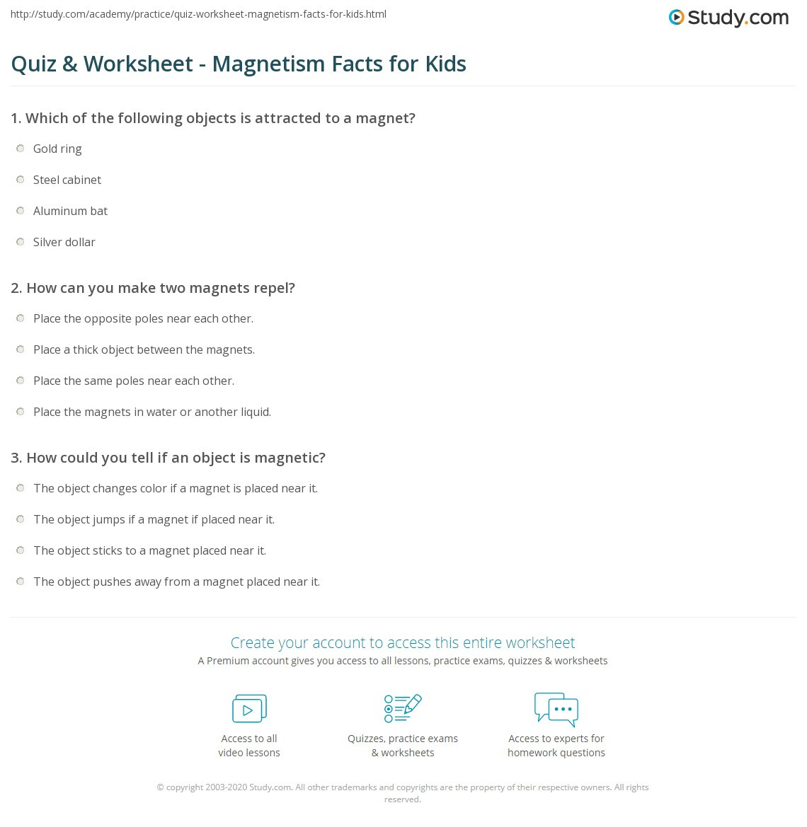 Magnetism Worksheet for High School Quiz & Worksheet Magnetism Facts for Kids