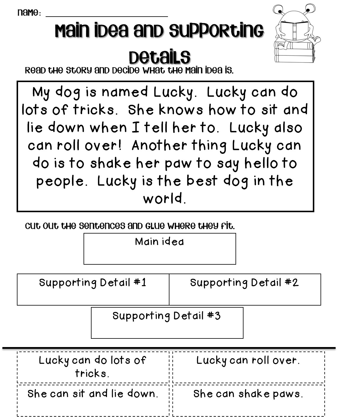 Main Idea 2nd Grade Worksheet Fraction Questions Paycheck Worksheets for Students Main