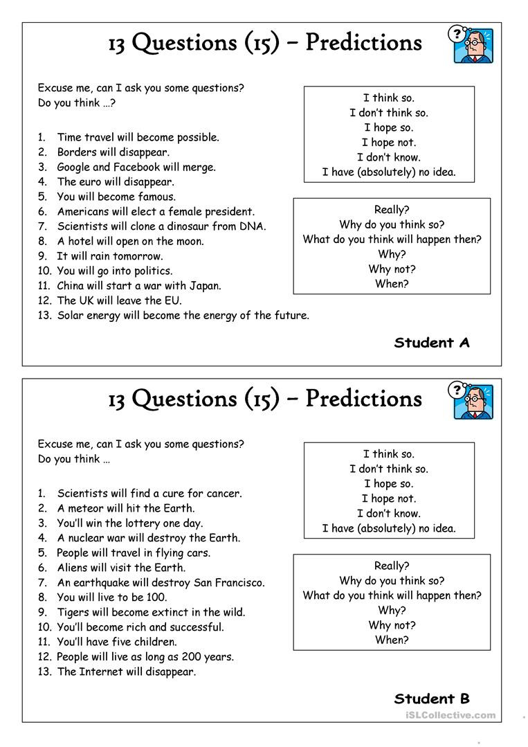 Making Predictions Worksheets 3rd Grade 13 Questions 15 Predictions English Esl Worksheets for