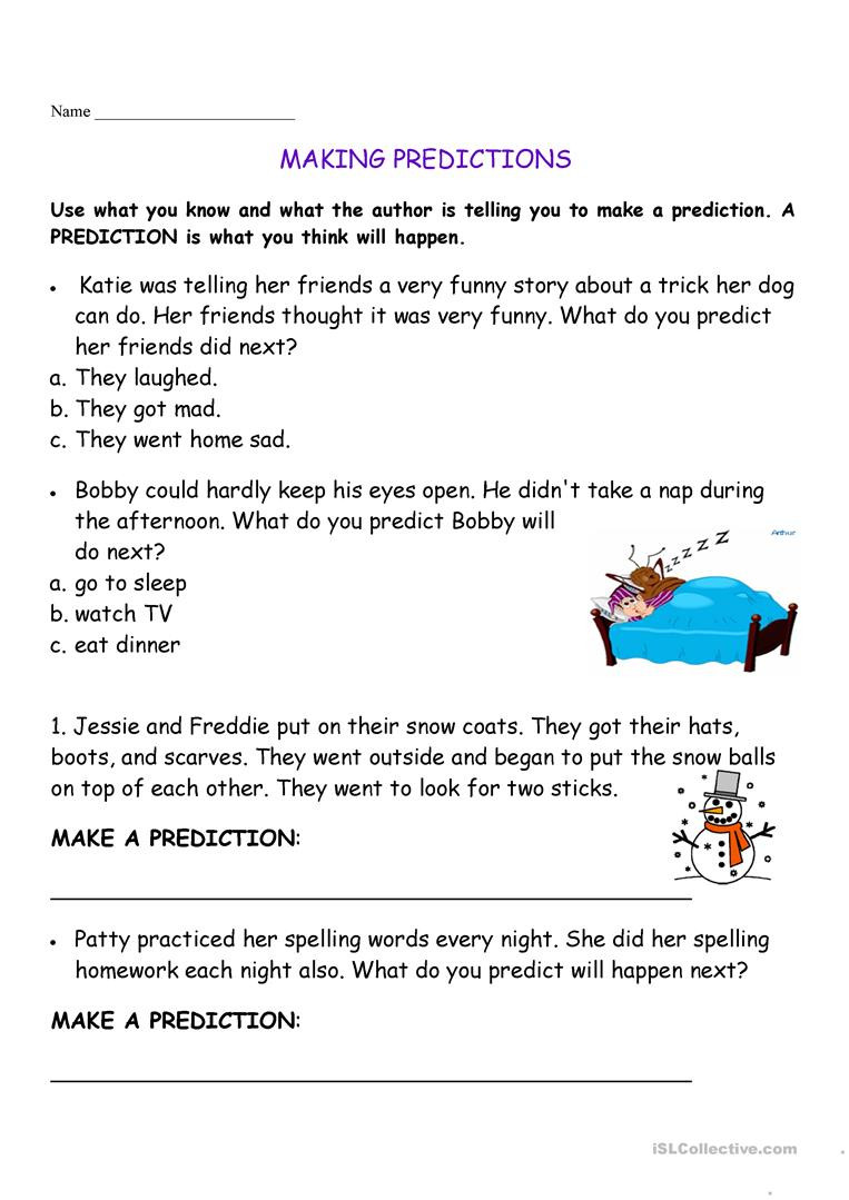 Making Predictions Worksheets 3rd Grade English Esl Making Predictions Worksheets Most Ed