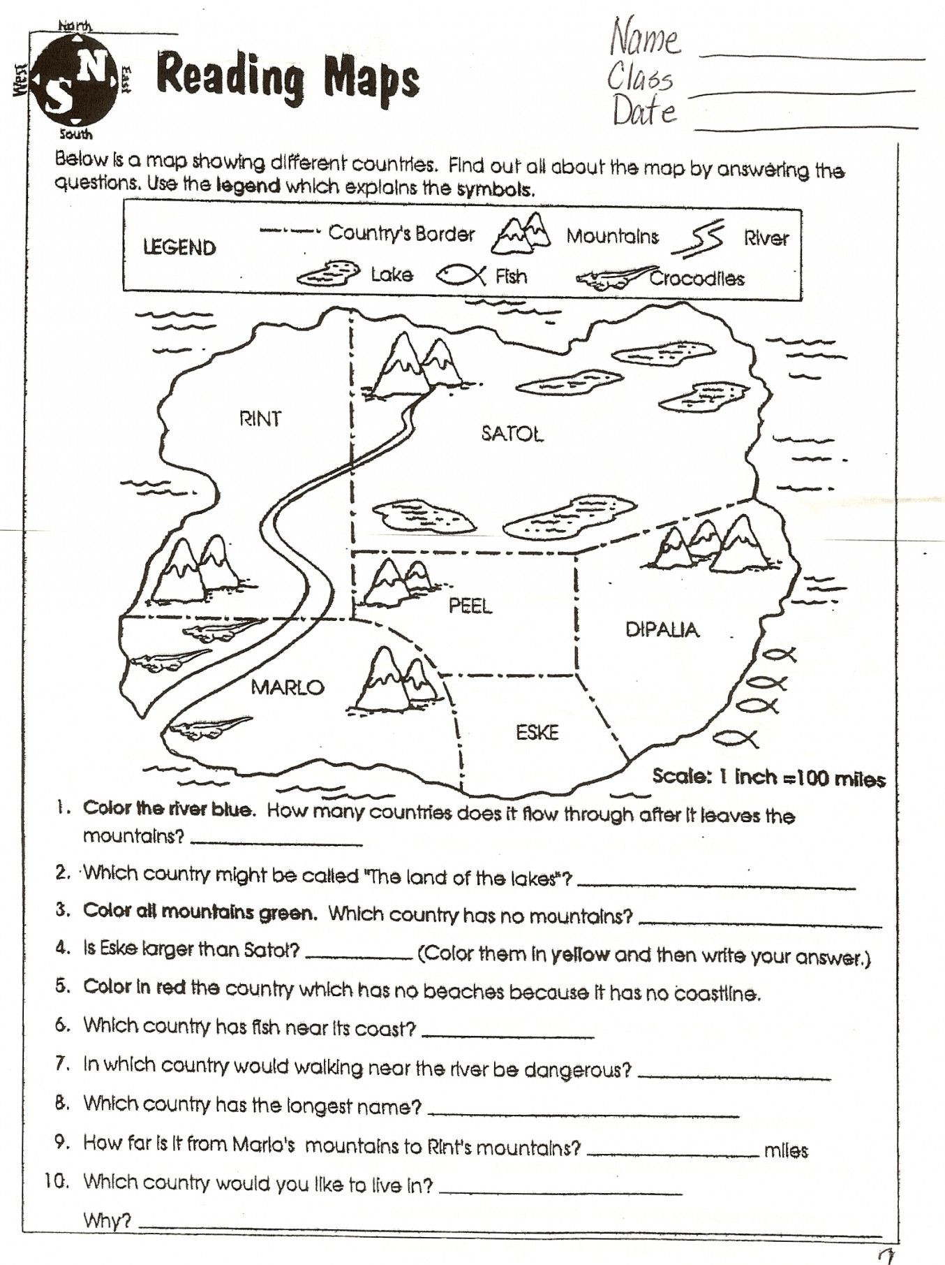 Map Scale Worksheet 3rd Grade Map Skills Worksheets to Printable Map Skills Worksheets