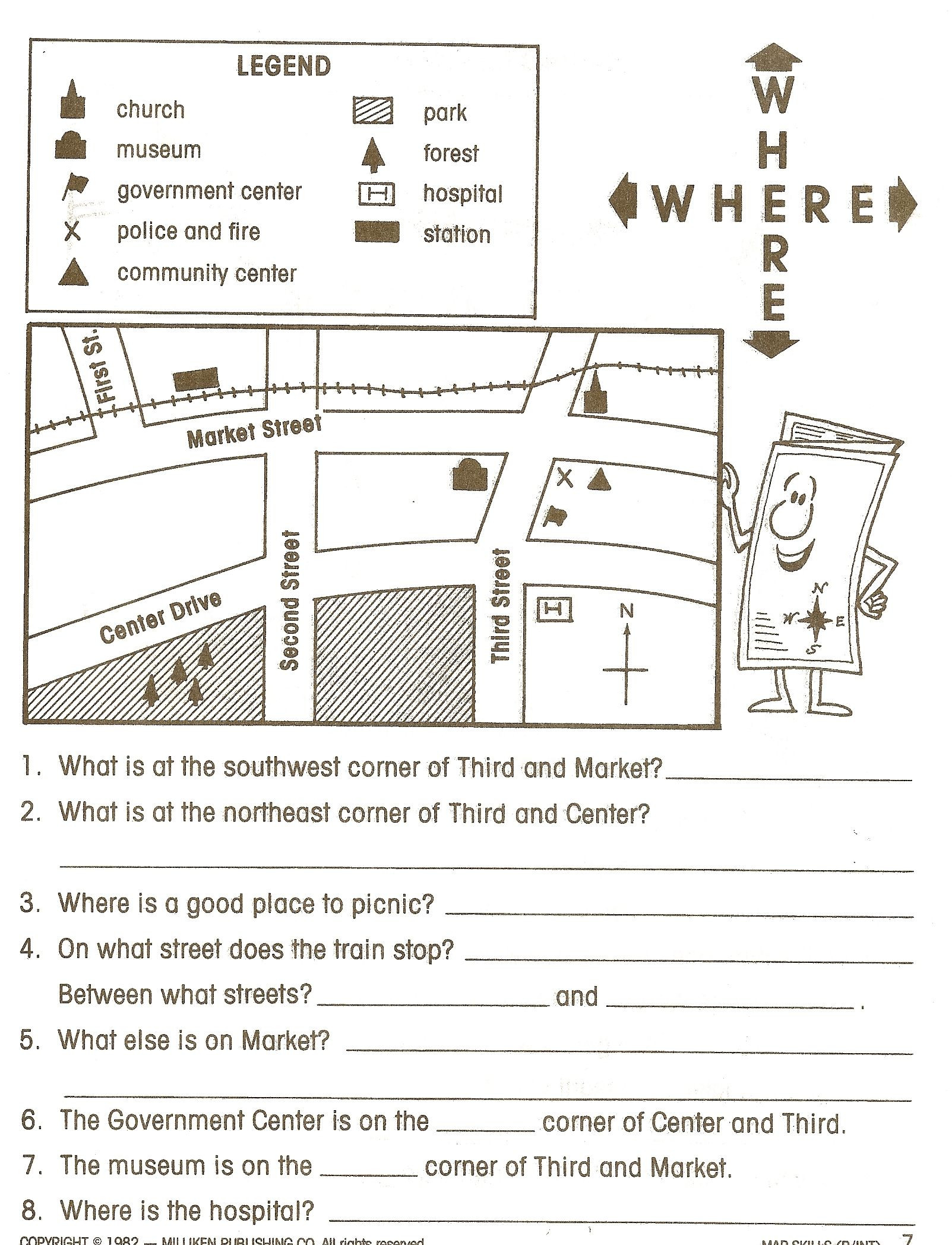 Map Worksheet 2nd Grade Pin by Staci Leive On Map Skills