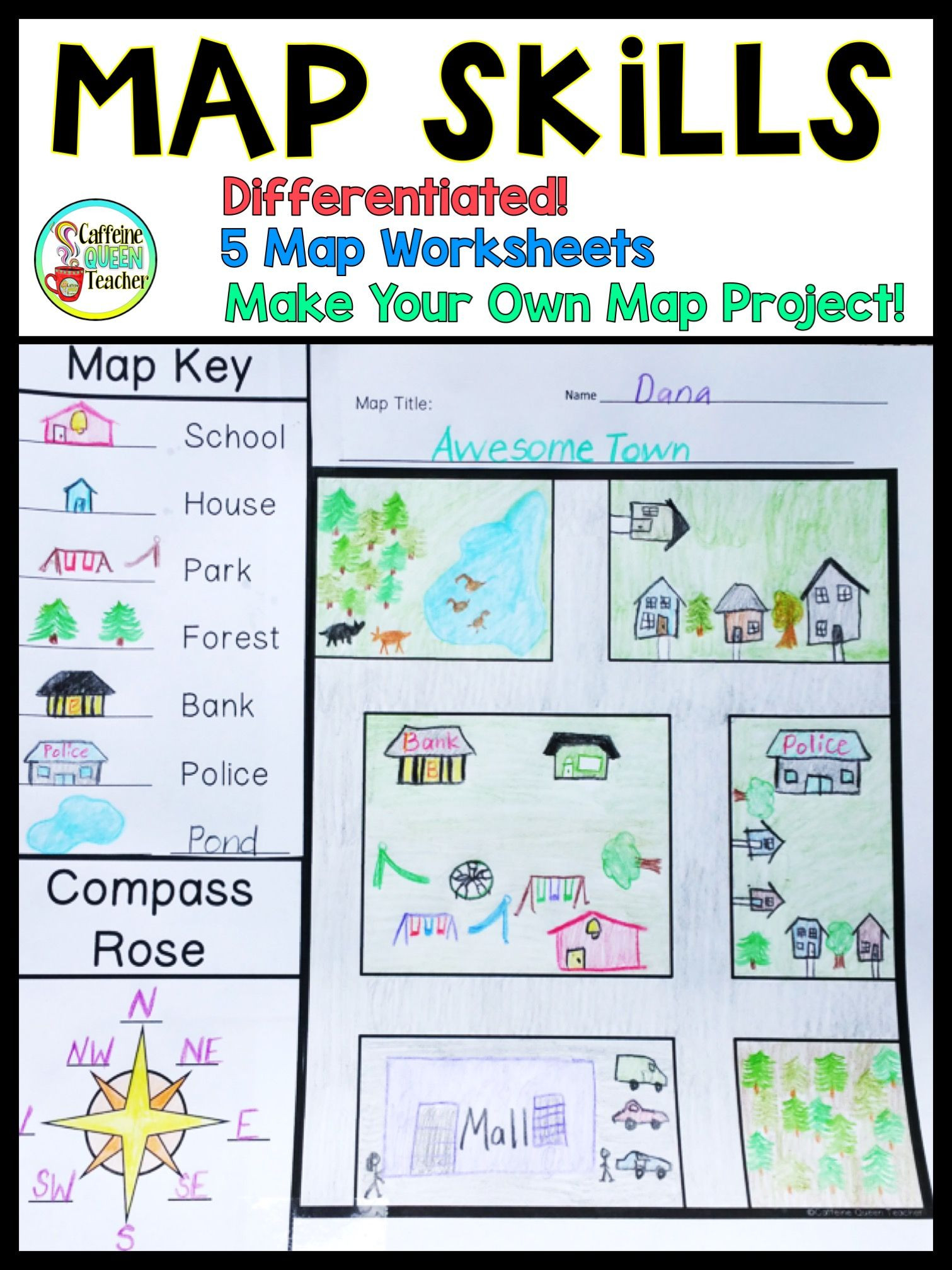 Maps Worksheets 2nd Grade Map Skills Make Your Own Map Project