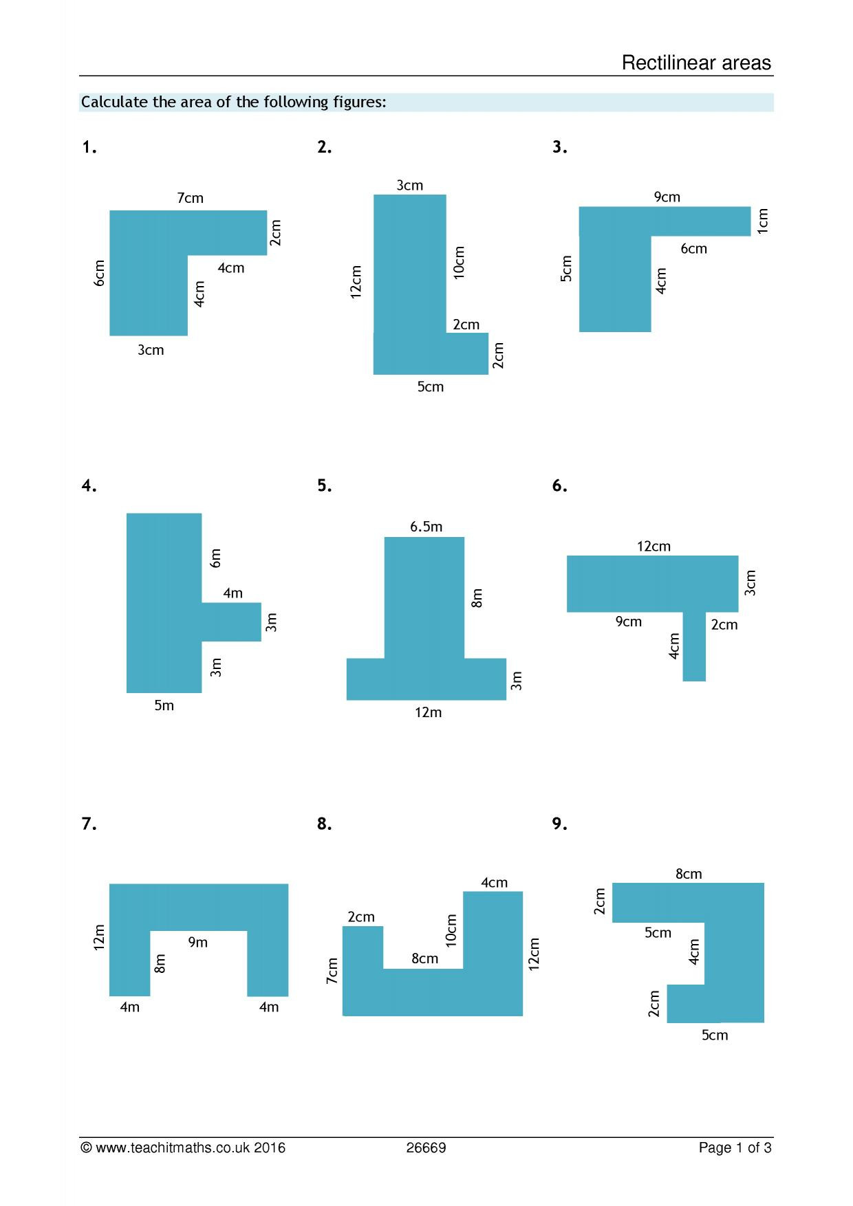 Math Aids Compound Shapes area and Perimeter – Pound Shapes Search Results