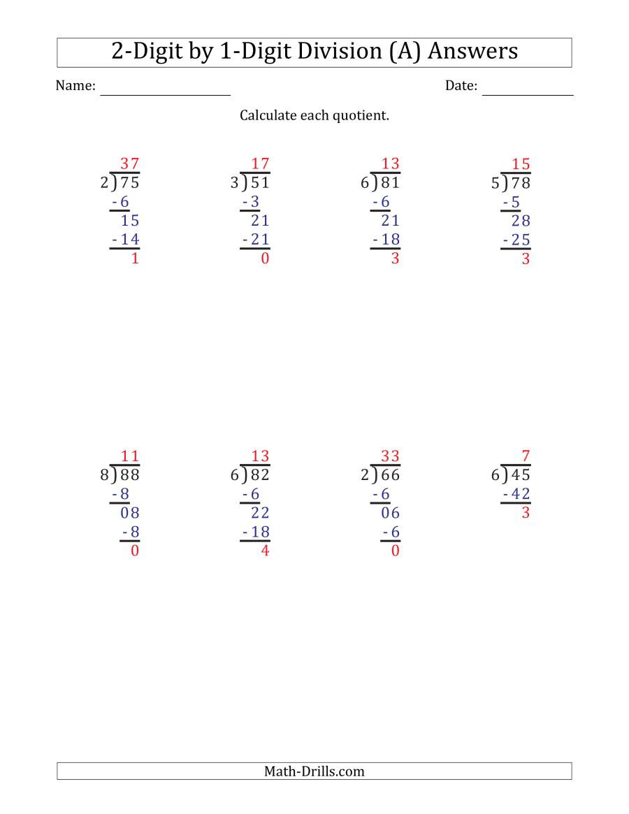 Math Drills Long Division 2 Digit by 1 Digit Long Division with Remainders and Steps