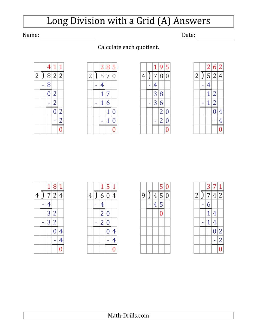 Math Drills Long Division 3 Digit by 1 Digit Long Division with Grid assistance and No
