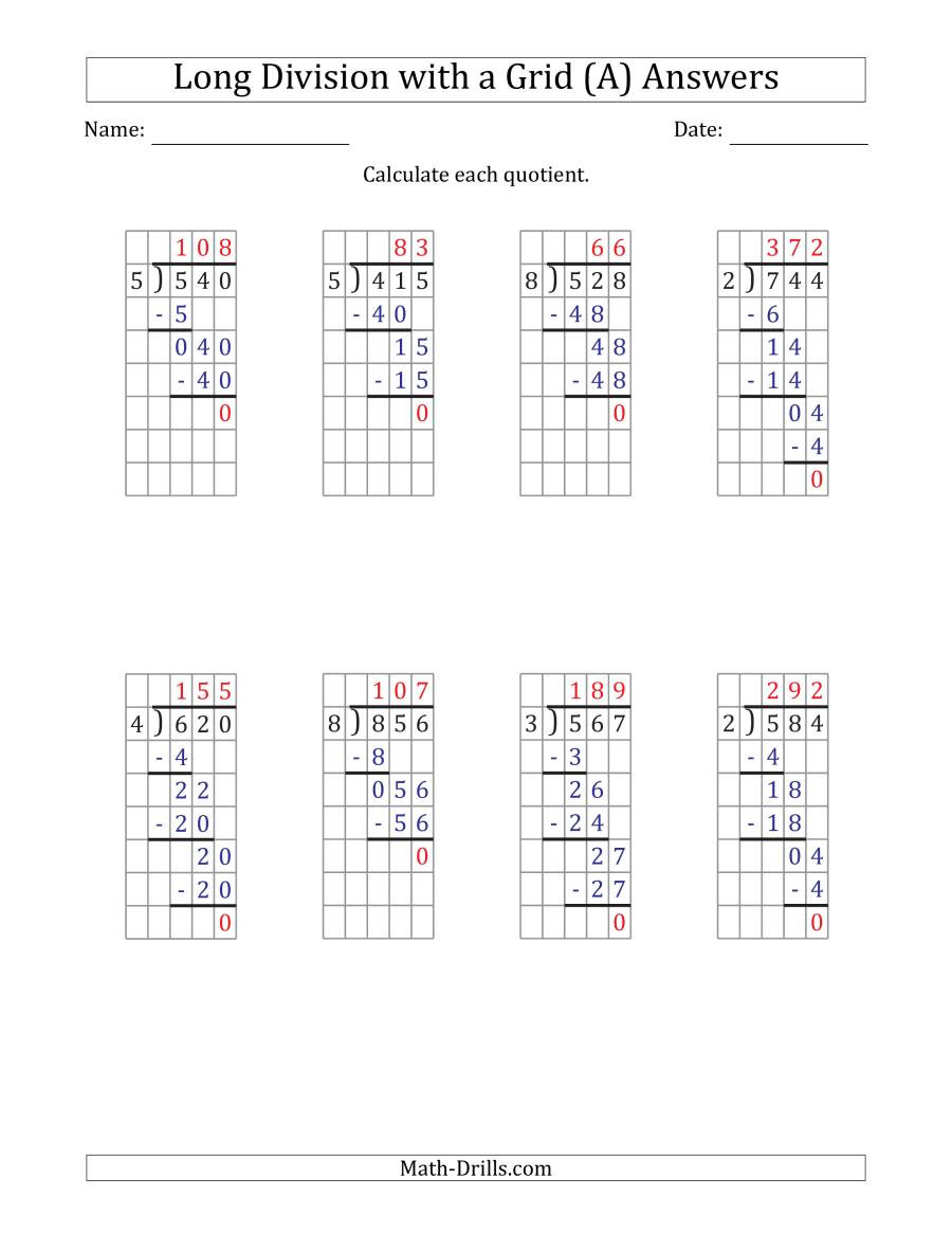Math Drills Long Division 3 Digit by 1 Digit Long Division with Grid assistance and
