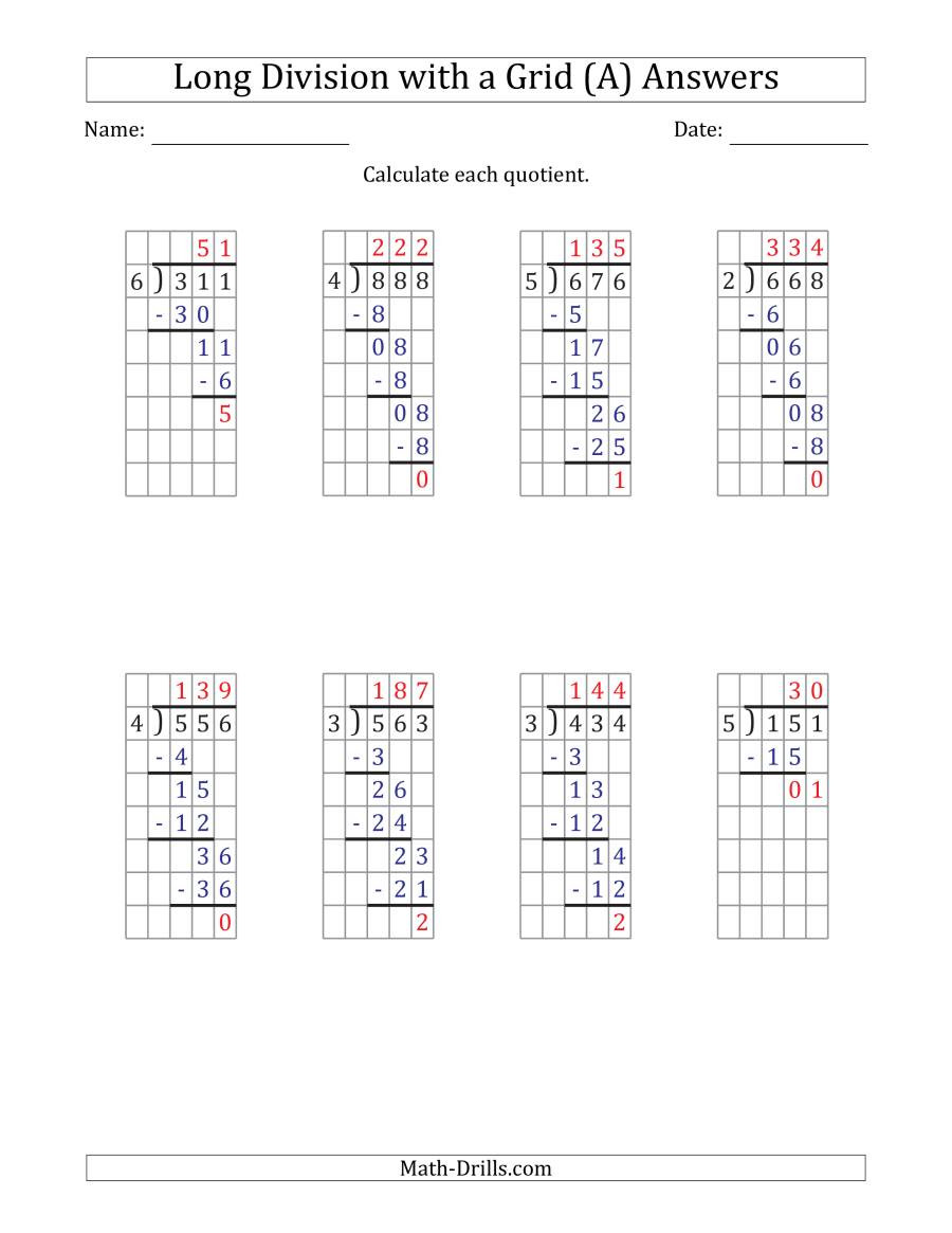 Math Drills Long Division 3 Digit by 1 Digit Long Division with Remainders with Grid