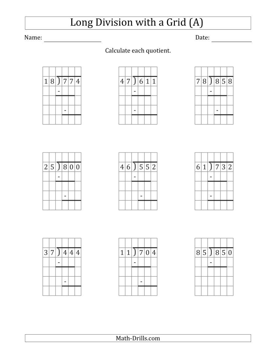 Math Drills Long Division 3 Digit by 2 Digit Long Division with Grid assistance and
